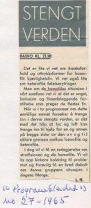 1965 Homofili første gang på norsk radio